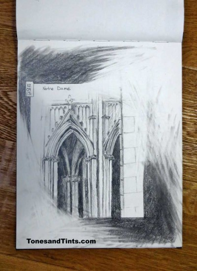 travel journal sketch Notre Dame