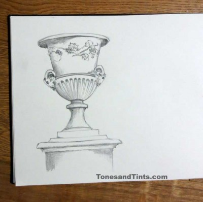 sketch of Tuileries garden urn