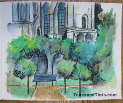 Garden behind Chartres Cathedral