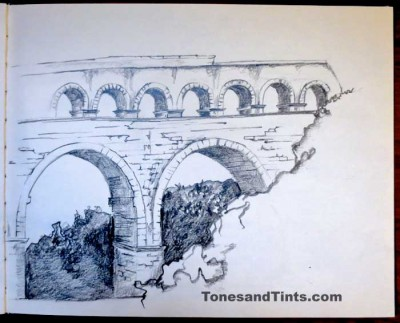 sketch of Pont du Gard bridge