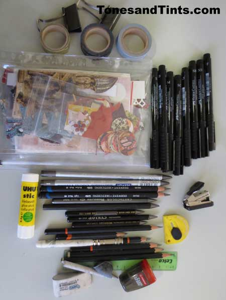 drawing equipment I used in my travel journal