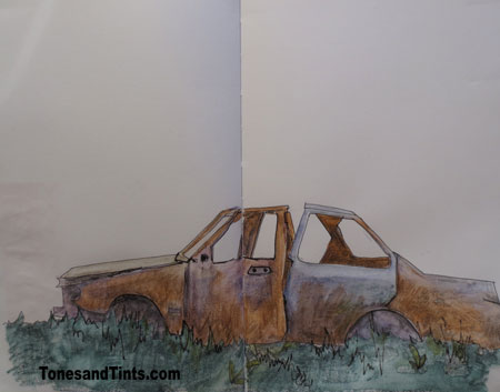 rusted out car sketch