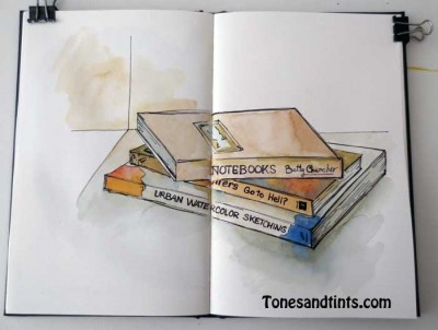 AJW drawing of a stack of books