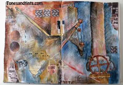 Something Industrial art journal page spread