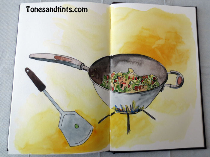 drawing of dinner cooking