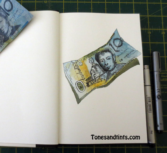 drawing of paper money