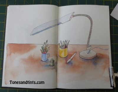 sketch of a desk lamp