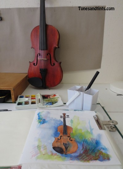 violin during the process of sketching