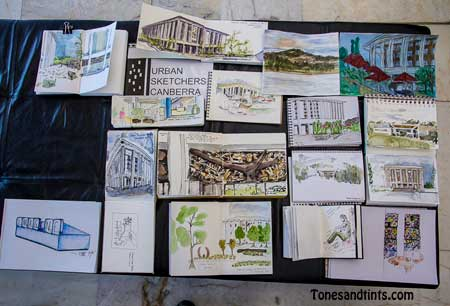 Urban Sketchers Canberra sketchbooks