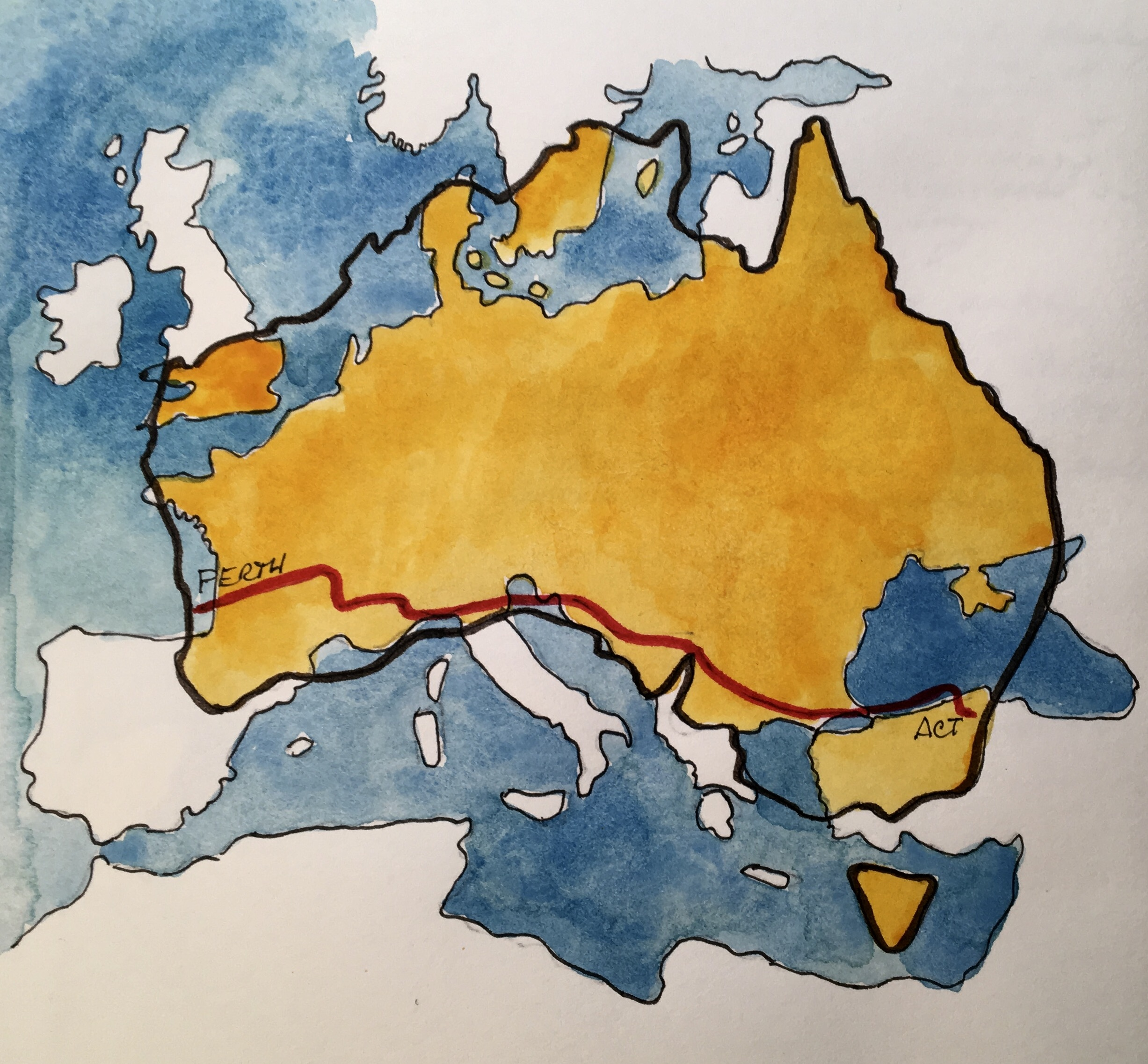 Map of Australia overlapping Europe