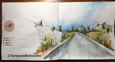 Watercolor sketch on the road