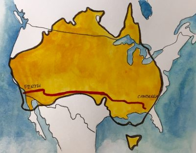 Map of Australia overlapping USA