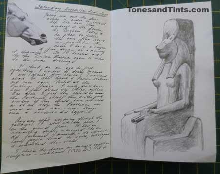Egyptian sculpture in the British Museum in travel journal