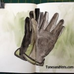 sketch of gloves