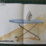 sketch of an iron on ironing board