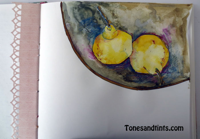 sketch of pears in a bowl